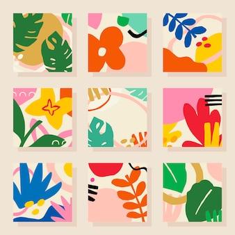 Conjunto de elementos de design de azulejos com padrão tropical