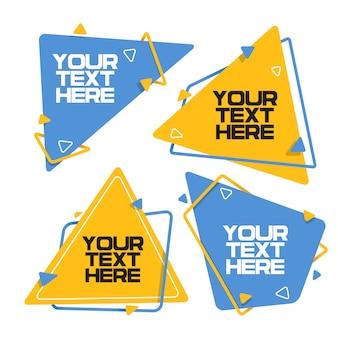 Conjunto de elementos de design de banner em forma de triângulo