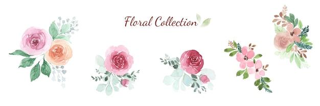 Conjunto de elementos de design de buquê de rosas florais em aquarela. flor para o conceito de casamento, convite, cartão ou design para segundo plano.