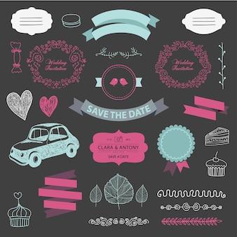 Conjunto de elementos de design de convite de casamento vintage