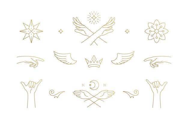 Conjunto de elementos de design de decoração elegante de linhas - ilustrações de asas e mãos gestuais