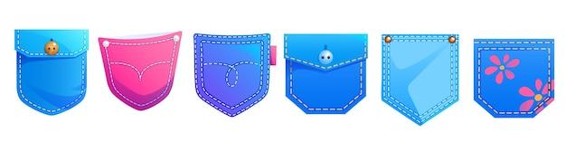 Conjunto de elementos de design de desenho animado de bolsos de remendo de jeans para vestuário jeans de cores azul e rosa com botões de impressão de flores fofas e ícones isolados de têxteis de pontos