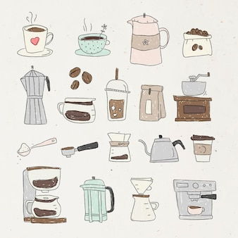 Conjunto de elementos de design de doodle de café fofo