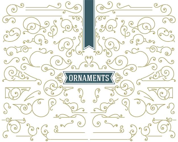 Conjunto de elementos de design de enfeites vintage pergaminhos e redemoinhos