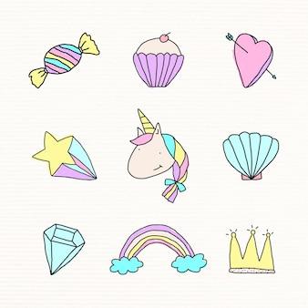 Conjunto de elementos de design de estilo doodle pastel fofo