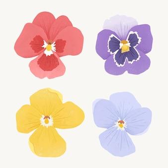 Conjunto de elementos de design de flores coloridas