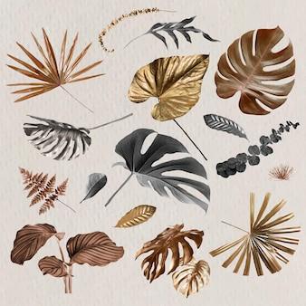 Conjunto de elementos de design de folha tropical metálica