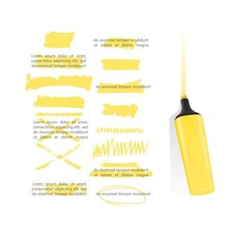 Conjunto de elementos de design de marca-texto desenhados à mão para marcar listras e traços