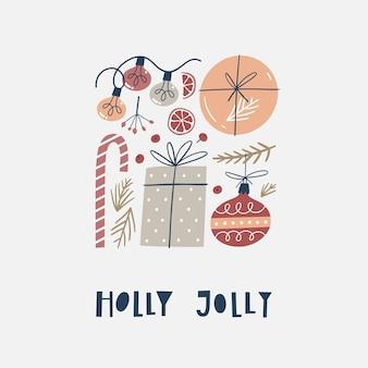Conjunto de elementos de design de natal. decorações tradicionais do feriado.