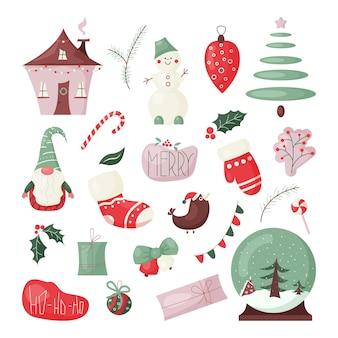 Conjunto de elementos de design de natal e ano novo fofos coleção de ícones de cores de inverno vetor dos desenhos animados