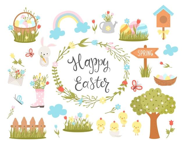 Conjunto de elementos de design de páscoa. personagens de desenhos animados de páscoa e elementos florais. para decoração do feriado e saudação de primavera. coelhinho, galinhas, ovos e flores. ilustração.