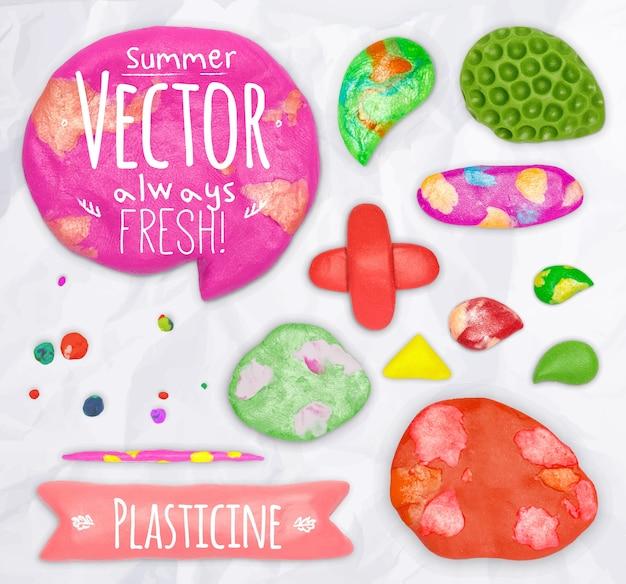 Conjunto de elementos de design de plasticina vector cobbled juntos