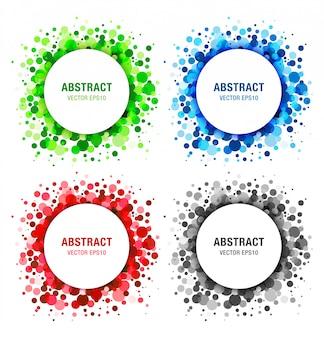 Conjunto de elementos de design de quadros abstratos círculos brilhantes
