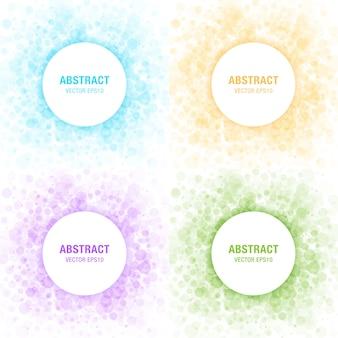 Conjunto de elementos de design de quadros de círculos abstratos de luz colorida