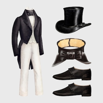 Conjunto de elementos de design de roupas de vetor de moda masculina antiga, remixado de uma coleção de domínio público