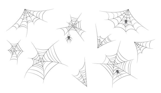 Conjunto de elementos de design de teias de aranha. teia de aranha, teia de aranha para decoração de halloween, aranhas assustadoras, coleção isolada de espanto