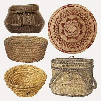 Conjunto de elementos de design de vetor de cestas de vime, obras de arte remixadas de vários artistas