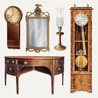 Conjunto de elementos de design de vetor de móveis e decoração antigos, remixado de uma coleção de domínio público