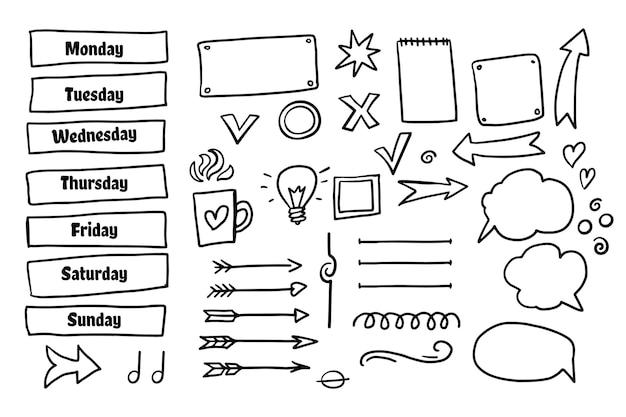 Conjunto de elementos de design desenhado à mão