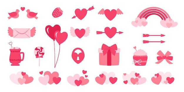 Conjunto de elementos de design dia dos namorados plana dos desenhos animados