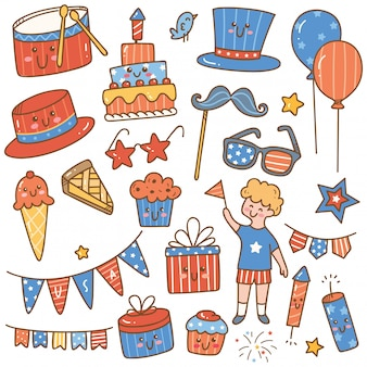 Conjunto de elementos de design do dia da independência 4 de julho