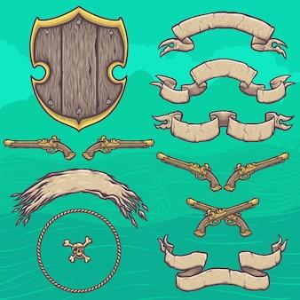 Conjunto de elementos de design do escudo pirata