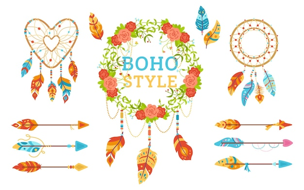 Conjunto de elementos de design do estilo boho. guirlanda floral boêmia com penas, apanhador de sonhos, flecha