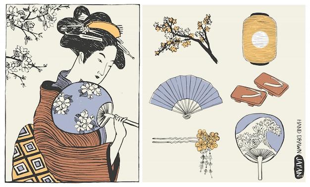 Conjunto de elementos de design do japão. mulher gueixa. ilustração de menina japonesa.