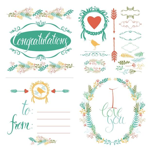 Conjunto de elementos de design e cartão de felicitações