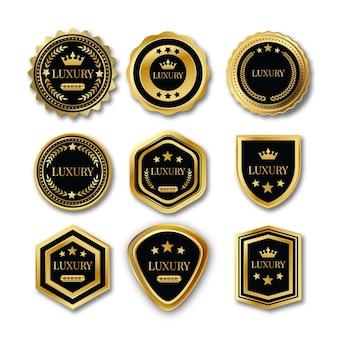 Conjunto de elementos de design elegante e dourado