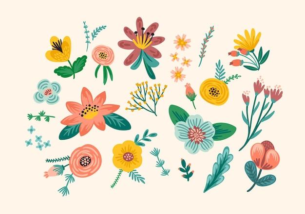 Conjunto de elementos de design floral. folhas, flores, ramos de grama, bagas, ilustração vetorial