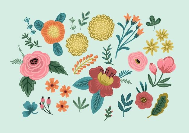 Conjunto de elementos de design floral. ilustração vetorial.
