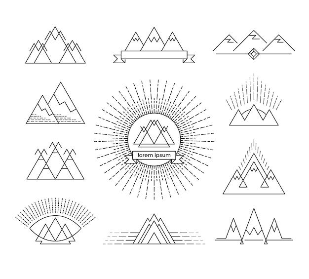 Conjunto de elementos de design linear de montanha. logotipos isolados.