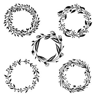 Conjunto de elementos de design, moldura floral e vinheta