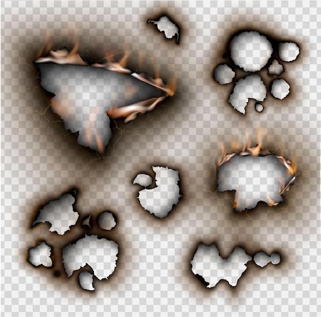 Conjunto de elementos de design papel rasgado com fogo