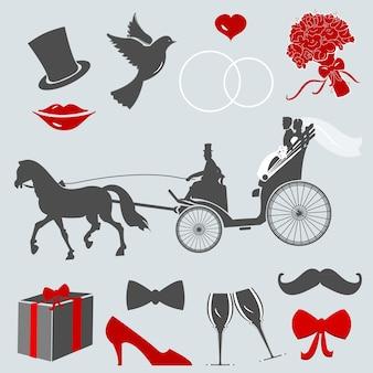 Conjunto de elementos de design para cartões e convites de casamento.