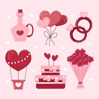 Conjunto de elementos de design plano do dia dos namorados