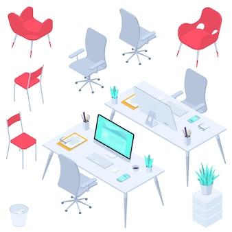 Conjunto de elementos de design plano isométrico moderno de equipamentos e móveis de escritório isolado no fundo branco espaços de trabalho e locais de trabalho