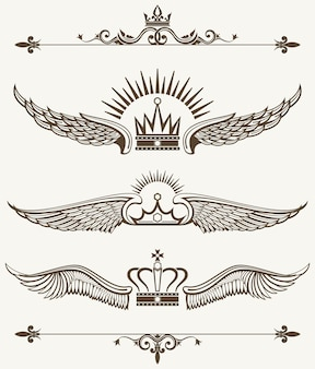Conjunto de elementos de design real coroas aladas