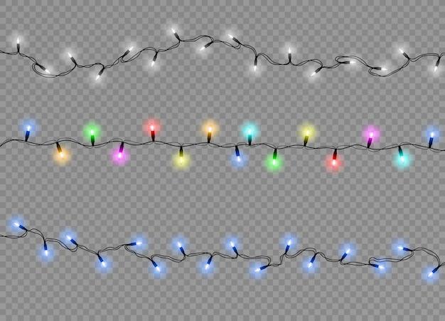 Conjunto de elementos de design realista de luzes de natal isoladas.