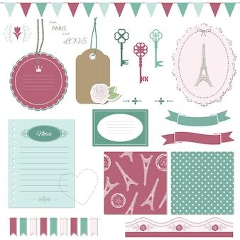 Conjunto de elementos de design scrapbook bonito.
