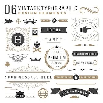 Conjunto de elementos de design tipográfico vintage