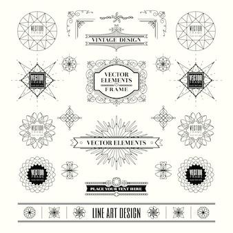 Conjunto de elementos de design vintage retrô de linha linear art deco