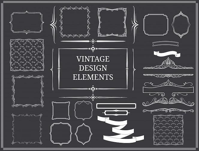 Conjunto de elementos de design vintage