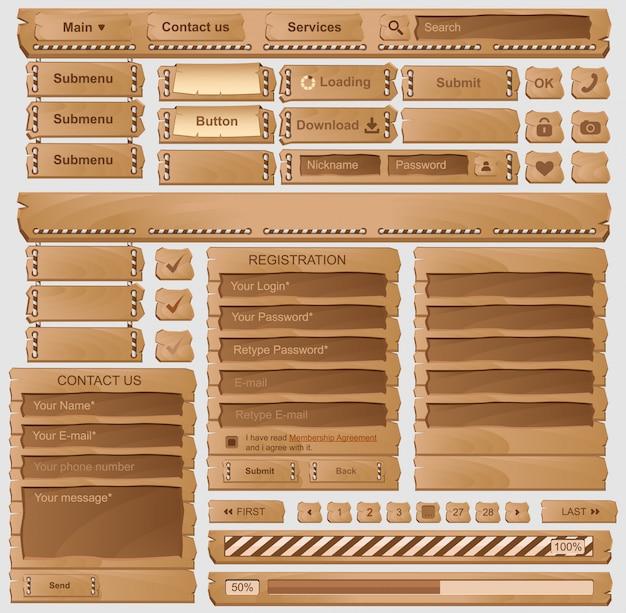 Conjunto de elementos de design web de madeira