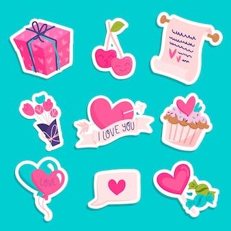 Conjunto de elementos de dia dos namorados corações e presentes
