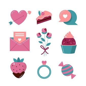 Conjunto de elementos de dia dos namorados lindos e planos