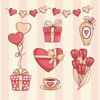 Conjunto de elementos de dia dos namorados mão desenhada