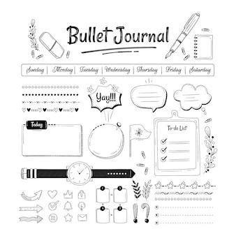 Conjunto de elementos de diário com marcadores desenhados à mão