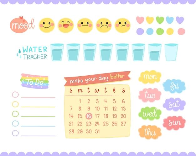 Conjunto de elementos de diário de bala. para decorar planejador ou diário.